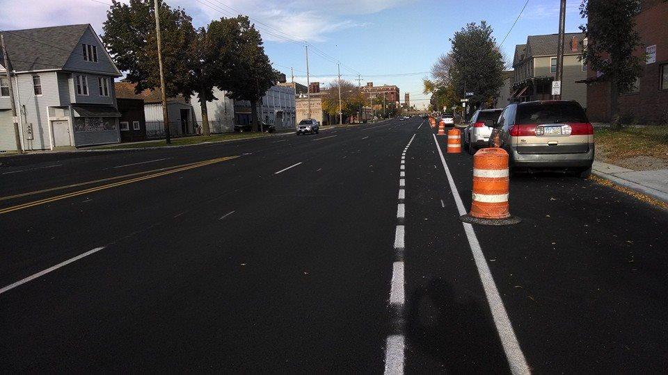 Superior bike lanes during installation.